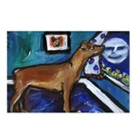 PINSCHER dog art design Postcards (Package of 8)