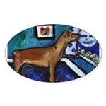 PINSCHER dog art design Oval Sticker