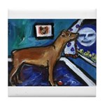 PINSCHER dog art design Tile Coaster