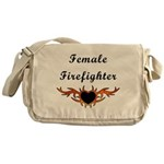 "Female Fire Fighter bags say ""female firefighter"" and has a tattoo flame with a heart in the center!"