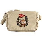 Christmas Penguin Holiday Wreath Messenger Bag