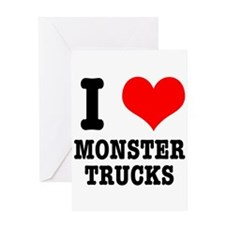 I Heart (Love) Monster Trucks Greeting Card