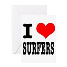I Heart (Love) Surfers Greeting Card