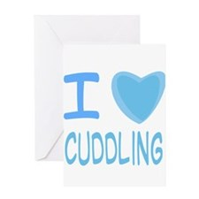 Blue I Heart (Love) Cuddling Greeting Card