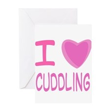Pink I Heart (Love) Cuddling Greeting Card