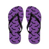 Halloween Purple Black Bat Flip Flops