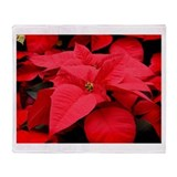 Christmas Red Poinsettia Throw Blanket