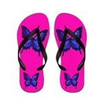 Pink Purple Butterfly Flip Flops