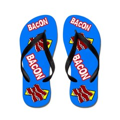 Comic Bacon Flip Flops