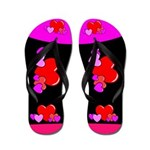 Neon Heart Flip Flops