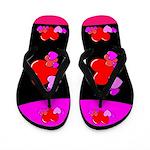 Neon Heart Flip Flops