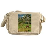 Horse in a Tropical Pasture Messenger Bag