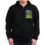 Horse in a Tropical Pasture Zip Hoodie (dark)