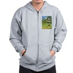 Horse in a Tropical Pasture Zip Hoodie