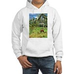 Horse in a Tropical Pasture Hooded Sweatshirt