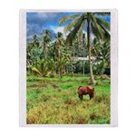 Horse in a Tropical Pasture Throw Blanket