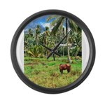 Horse in a Tropical Pasture Large Wall Clock