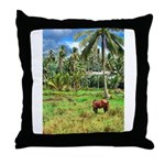 Horse in a Tropical Pasture Throw Pillow