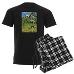 Horse in a Tropical Pasture Men's Dark Pajamas