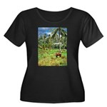 Horse in a Tropical Pasture Women's Plus Size Scoo