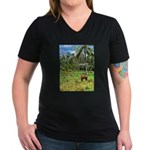 Horse in a Tropical Pasture Women's V-Neck Dark T-