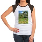 Horse in a Tropical Pasture Women's Cap Sleeve T-S