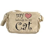 Heart Belongs to Cat Messenger Bag