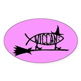 Wiccan Fish Oval Decal