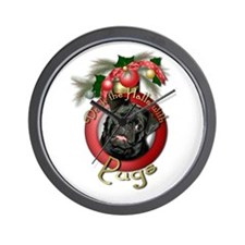 Christmas - Deck the Halls - Pugs Wall Clock
