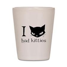 I Heart Bad Kitties Shot Glass
