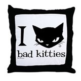 I Heart Bad Kitties Throw Pillow