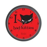 I Heart Bad Kitties Wall Clock