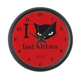I Heart Bad Kitties Large Wall Clock