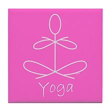 Yoga in Pink Tile Coaster