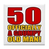 Grumpy 50th Birthday Tile Coaster