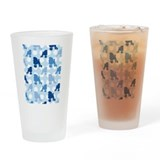 Blue Poodle Polka Dot Drinking Glass