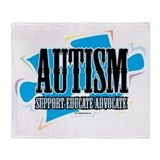 Autism Blue Puzzle Throw Blanket