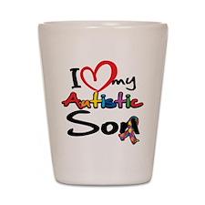 I Love My Autistic Son 2 Shot Glass