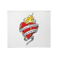 Brain Cancer Tattoo Heart Throw Blanket