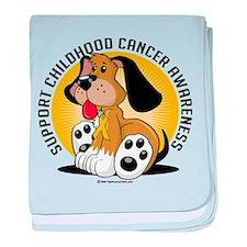 Childhood Cancer Dog baby blanket