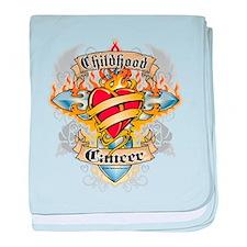 Childhood Cancer Cross & Hear baby blanket