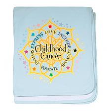 Childhood Cancer Lotus baby blanket