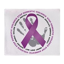 Stop Domestic Violence Ribbon Throw Blanket