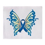 Colon Cancer Butterfly Throw Blanket
