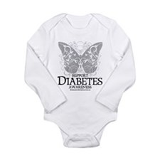 Diabetes Butterfly Long Sleeve Infant Bodysuit