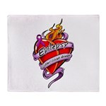 Epilepsy Tattoo Heart Throw Blanket