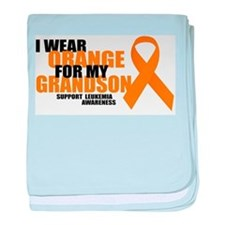 Leukemia: Orange For Grandson baby blanket