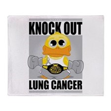 Knock Out Lung Cancer Throw Blanket