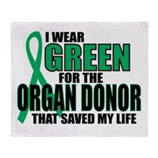 Green For Organ Donor Throw Blanket