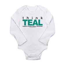 Ovarian Cancer THINK TEAL Long Sleeve Infant Bodys